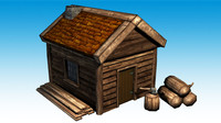 3d lumber jack hut polys model