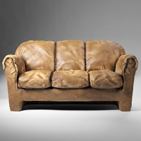 3d old common leather sofa model
