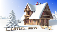 Log Cabin Christmas Cartoon Scene