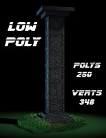 Engraved Stone Pillar / Column