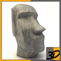 easter island moai statue 3d c4d