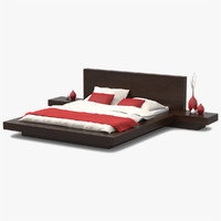 3d model platform bed walnut wood