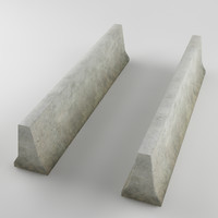 3d traffic barrier concrete dirty model
