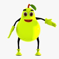 3d pear character