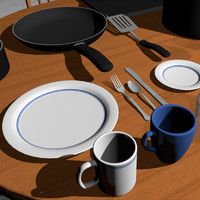 3d coffee cup dishes model