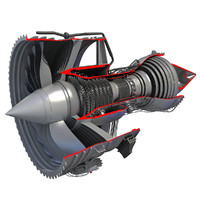 rolls-royce trent 1000 turbofan engine 3d model