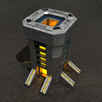 3d tower sci-fi building
