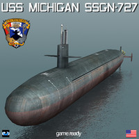 3d model uss michigan ssgn-727