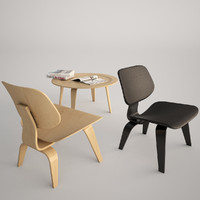 Vitra Eames LCW Chair and Plywood Table