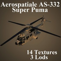 aerospatiale as-332 super 3d model