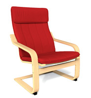 3d model of subdivision ikea poang chair