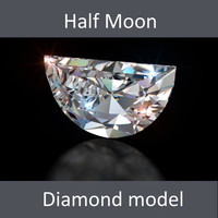 3d half moon diamond cut model