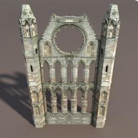 Castle ruin - Front Wall Low poly 3d Model