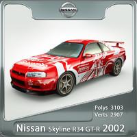 nissan gt-r skyline r34 3d model