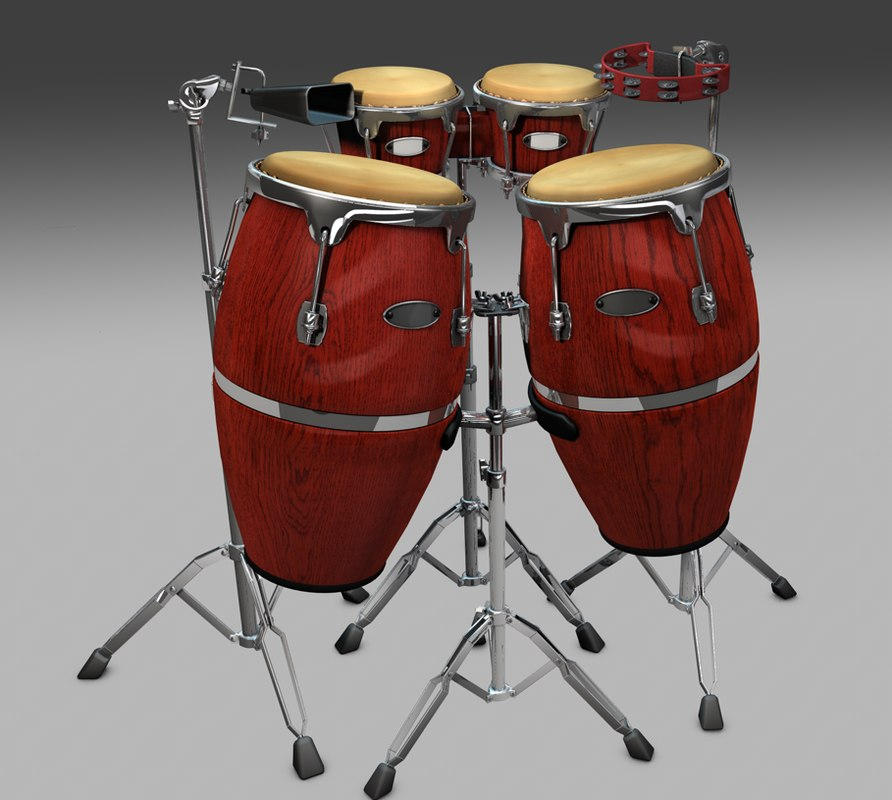 3d model of bongos congas tambourine cow. Black Bedroom Furniture Sets. Home Design Ideas