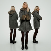 3d model of blond girl grey coat