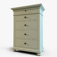 3d model st james narrow 5-drawer