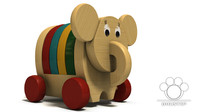 unique wooden toy elephant 3d model