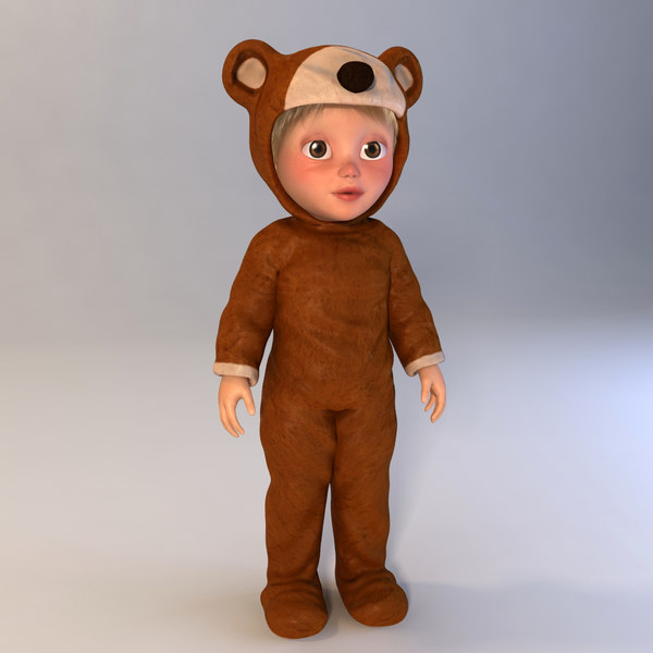 cartoon child boy bear 3d model