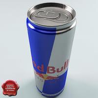 drink red bull 0 3d model