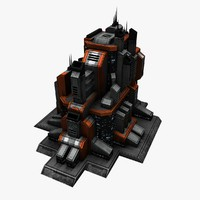 4 sci fi city buildings 3ds