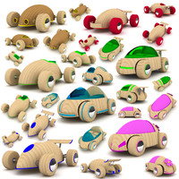 3d model wooden toy cars