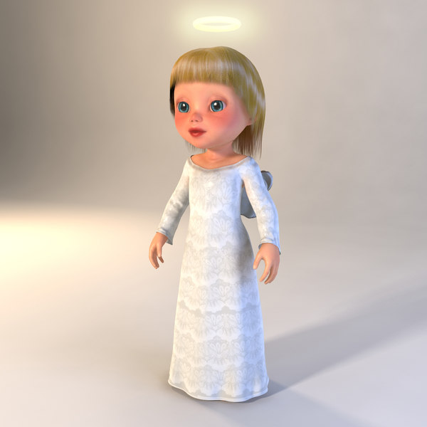 angel girl 3d obj