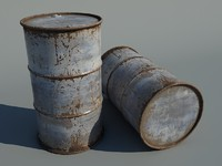 3d model barrel rust