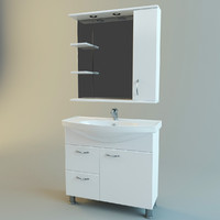 set bathroom furniture vanity 3d model