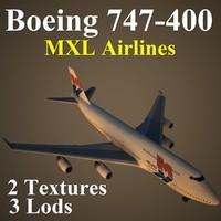 3d boeing 747-400 mxl model