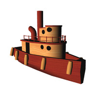 3d toy tugboat