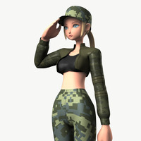 original character soldier girl obj