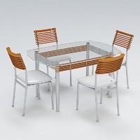 chair table set 3d model