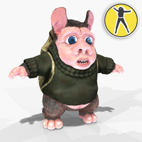 3d toon hamster tourist model