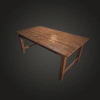old wooden table 3d 3ds
