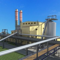 3d model power generating plant