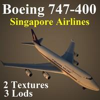 boeing 747-400 sia 3d max