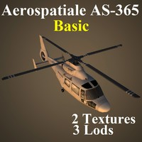 aerospatiale basic helicopter 3d model