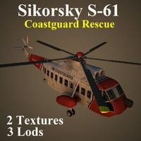 3d model sikorsky red helicopter