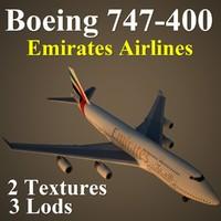 3d boeing 747-400 uae model