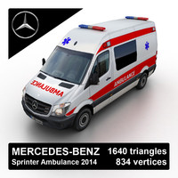 2014 mercedes-benz sprinter ambulance 3d model