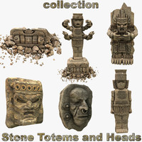 of stone totems heads