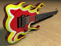 cinema4d ibanez flame guitar