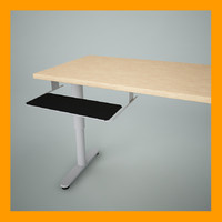 pull-out keyboard shelf 3d max