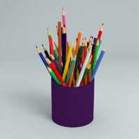 colored pencils bin 3d model