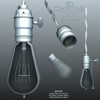 3d model light socket vintage bulb