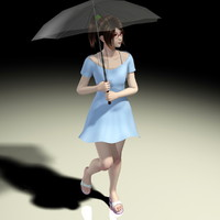 japanese girl natsumi umbrella 3d model