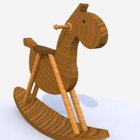 3d wooden rocking horse model