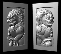 3d chinese guardian lions foo model