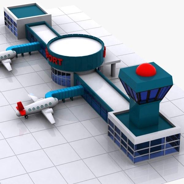 3d model car air Airport Cartoon Images